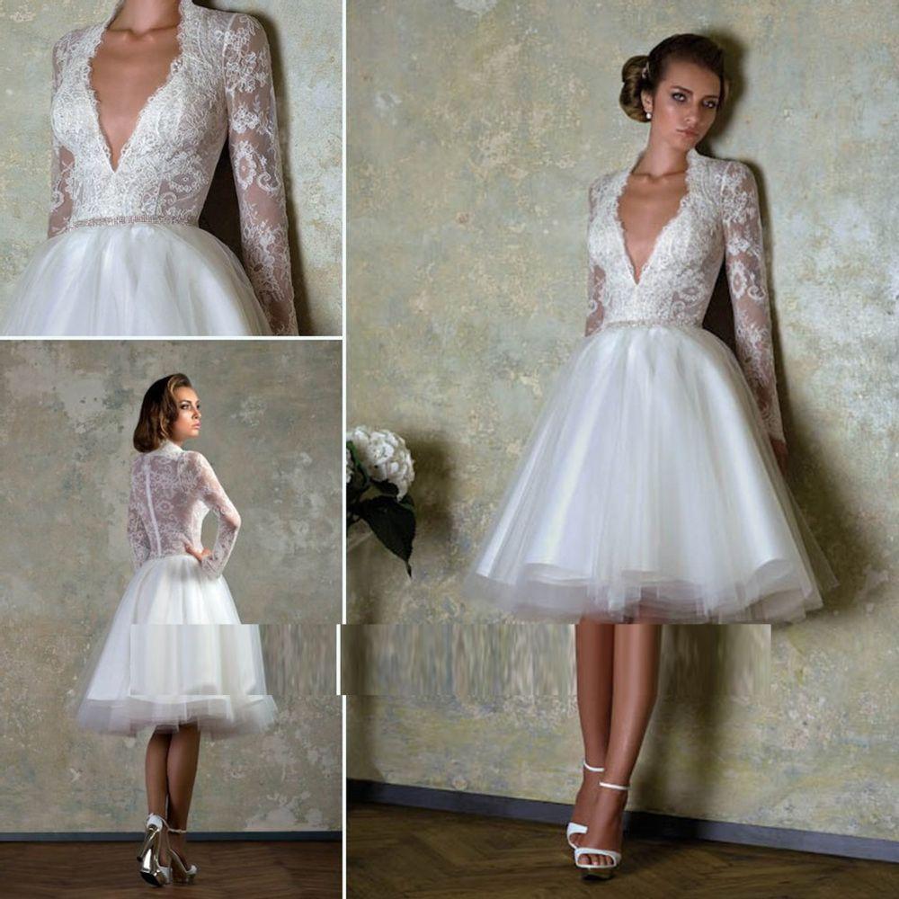 Green short dress for wedding  Free shipping Celebrity dress Evening dress Lace Long sleeve VNeck