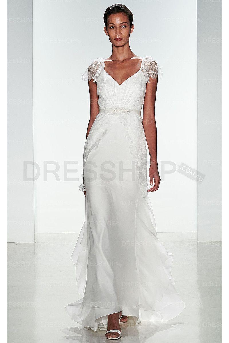 Beach dresses for weddings  Breathtaking White Vneck Chiffon Natural Zipper Wedding Dresses