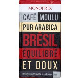 Café moulu pur arabica Brésil, équilibré et doux - Monoprix