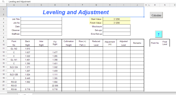 Leveling  Adjustment Spreadsheet  Land Surveyors United
