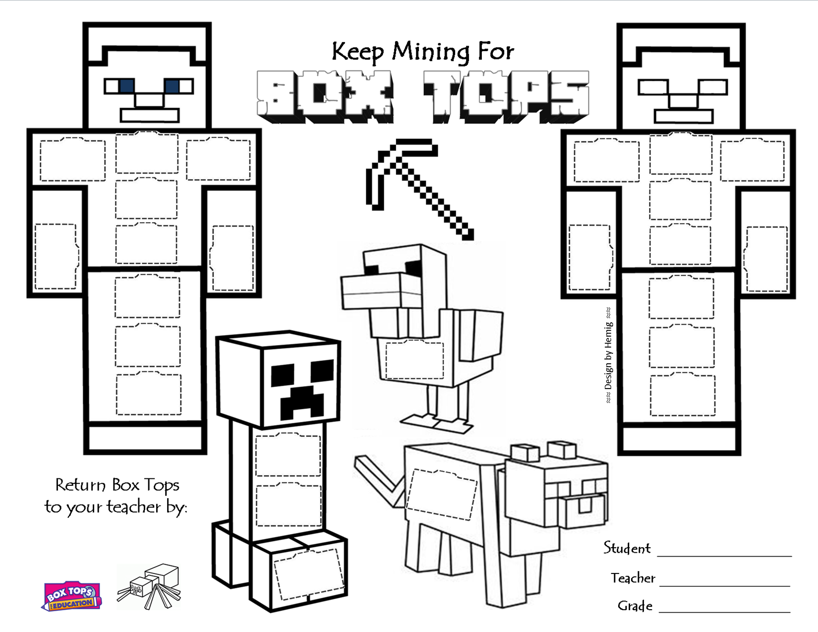 Minecraft Box Tops Collection Sheet Keep Mining For
