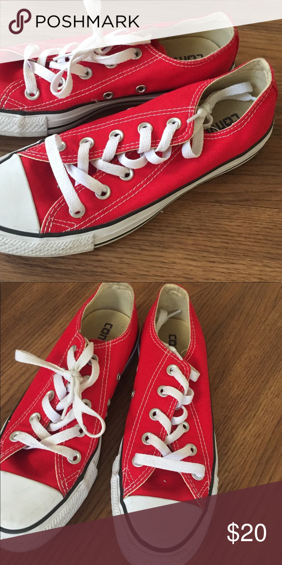 57986b52effe4c Youth Red Low cut Converse (unisex) Worn 3 times practically brand new! Converse  Shoes Sneakers