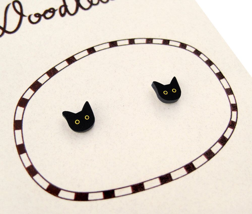 Super Tiny Black Cat Shrink Plastic Stud Earrings By Doodleworm On Etsy  Https: