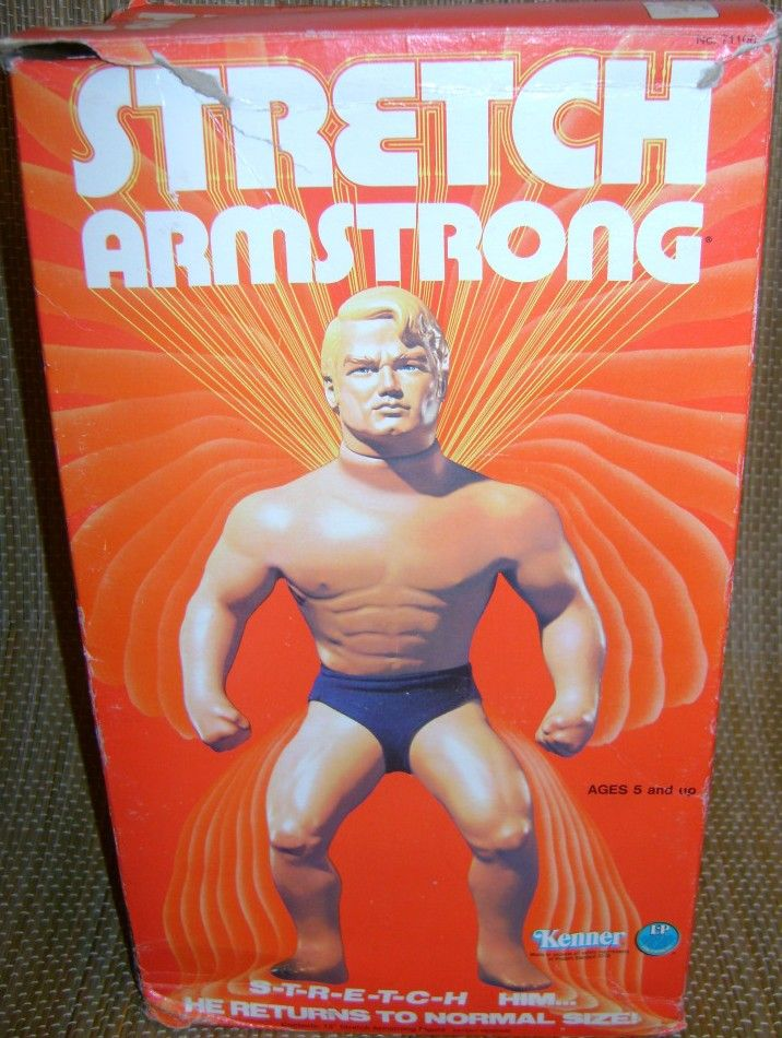 KENNER: 1975 Stretch Armstrong. Me and Mark poked holes in him an squeezed out all the orange gel inside his body #vintagetoys