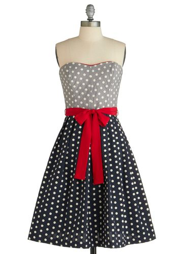 Oh What Fun Dress by Corey Lynn Calter - Red, White, Color Block, Polka Dots, Bows, Trim, A-line, Strapless, Pockets, Party, 50s, Rockabilly, Pinup, Long, Multi, Blue, Grey, Nautical, Spring, Print