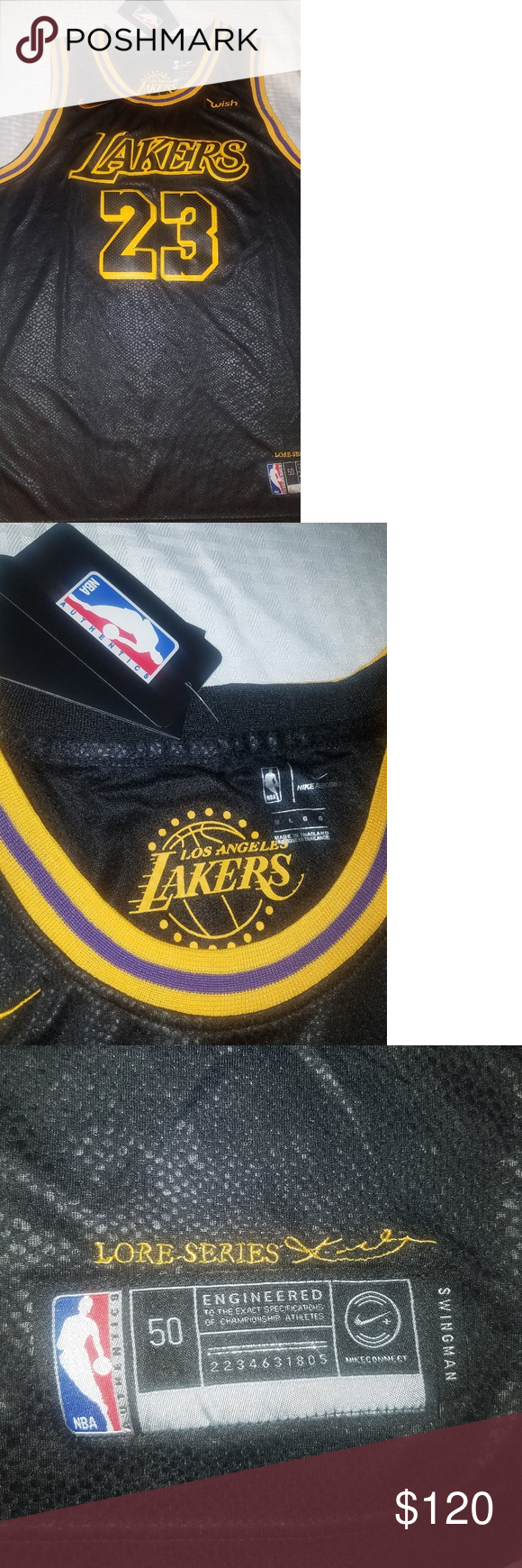 LeBron James  23 Lakers Jersey NWT! LeBron James  23 Los Angeles Lakers  2018 19 Swingman Jersey Black 197c33265