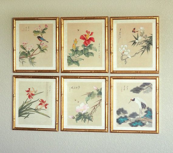 Vintage Oriental Botanical Prints with Gold Bamboo Frames / Set of ...