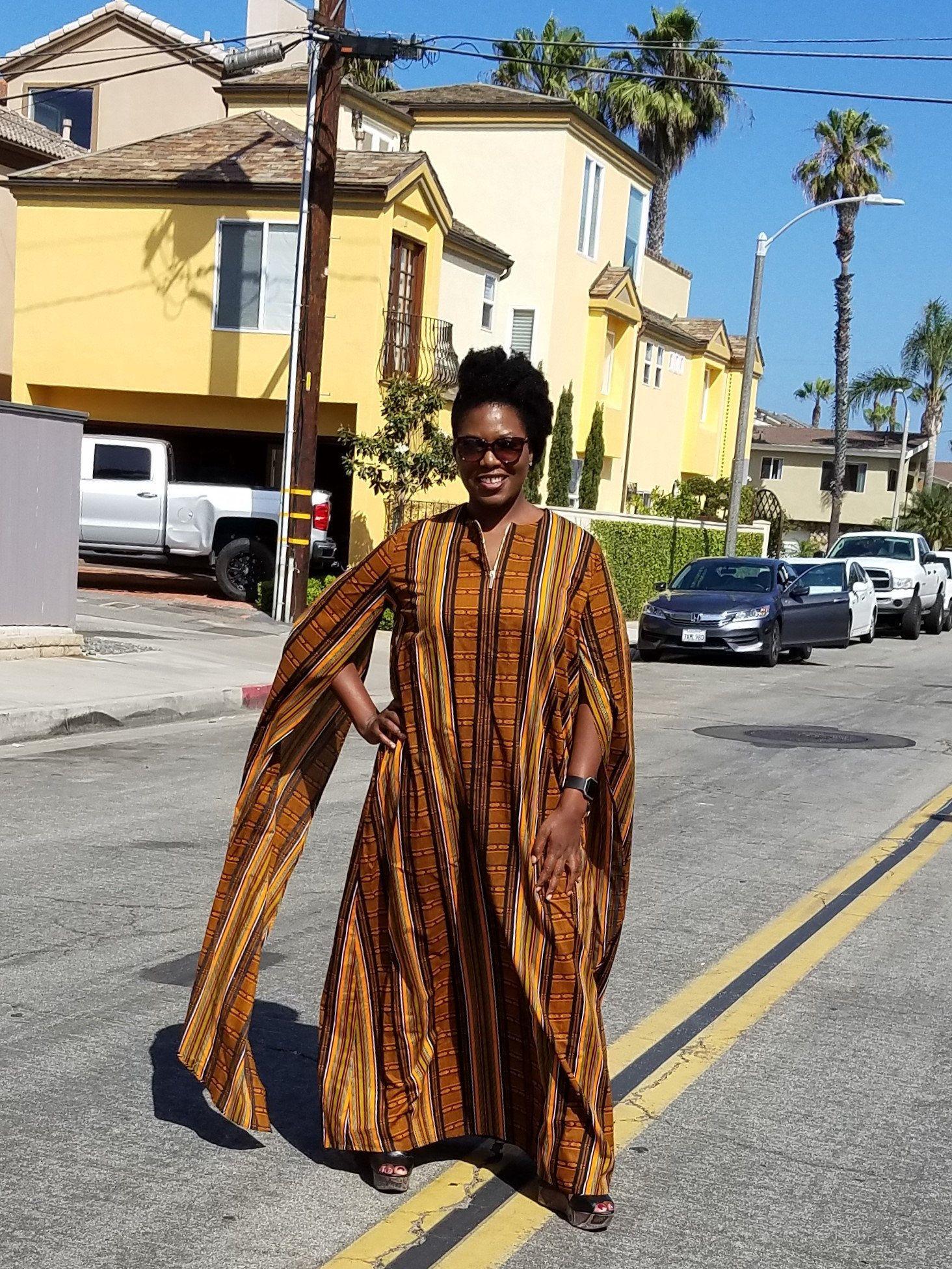 Kuwaha african kente print long cape sleeve maxi kaftan boubou dress