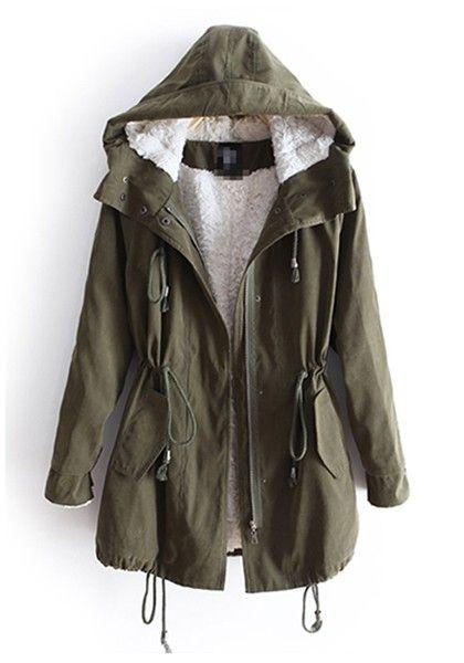 Army Green Drawstring Belt Hooded Cotton Parka Coat | Parka coat ...