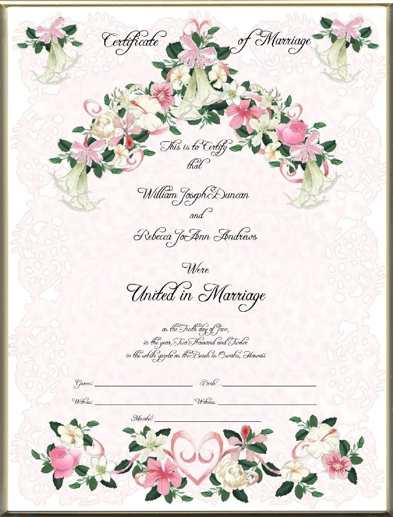 Keepsake Marriage Certificates  Blank  Printed Hawaiian Floral