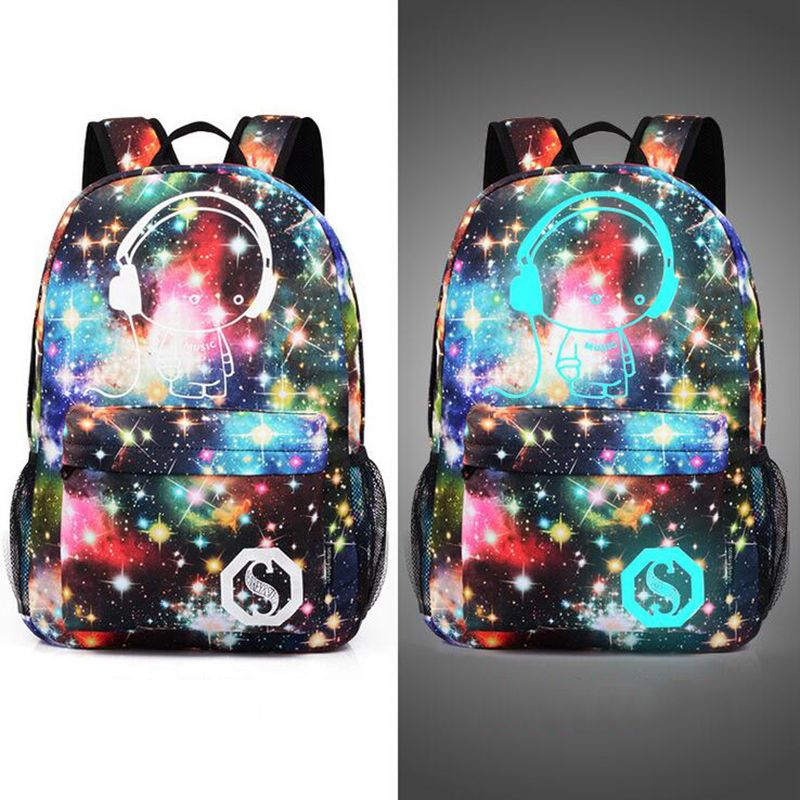 New Fashion Men s Backpack Anime Starry sky Luminous Printing ... f272e548298a1