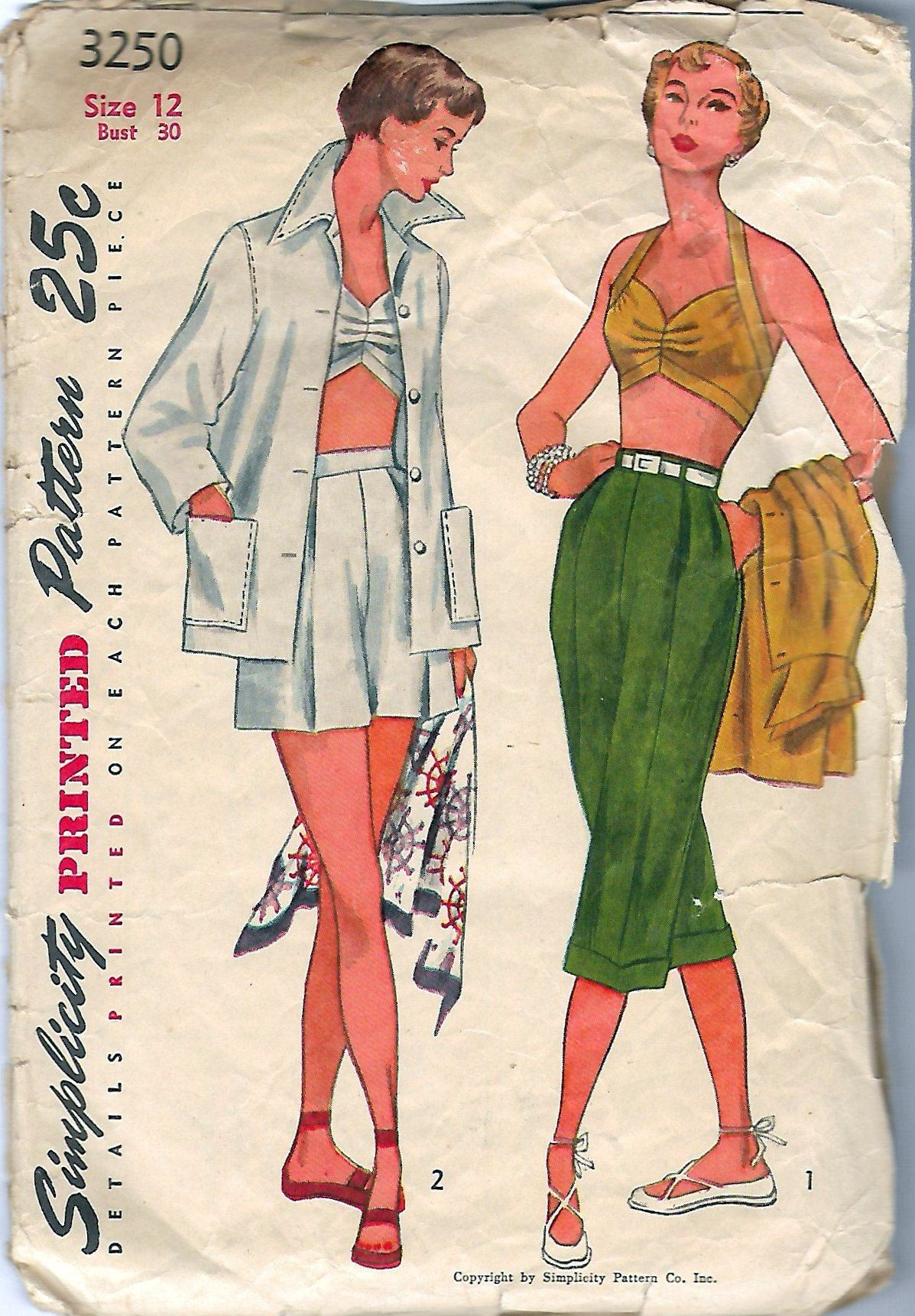 6467 Vintage Simplicity Sewing Pattern Misses Set of halter tops Bikini Ruffles