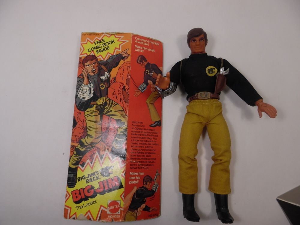 Kids Toys Action Figure: Big Jim Gold PACK Commander With Original Box Mattel