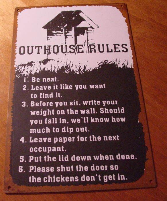 Old West Country Primitive Rustic Western OUTHOUSE RULES Bathroom Sign Decor