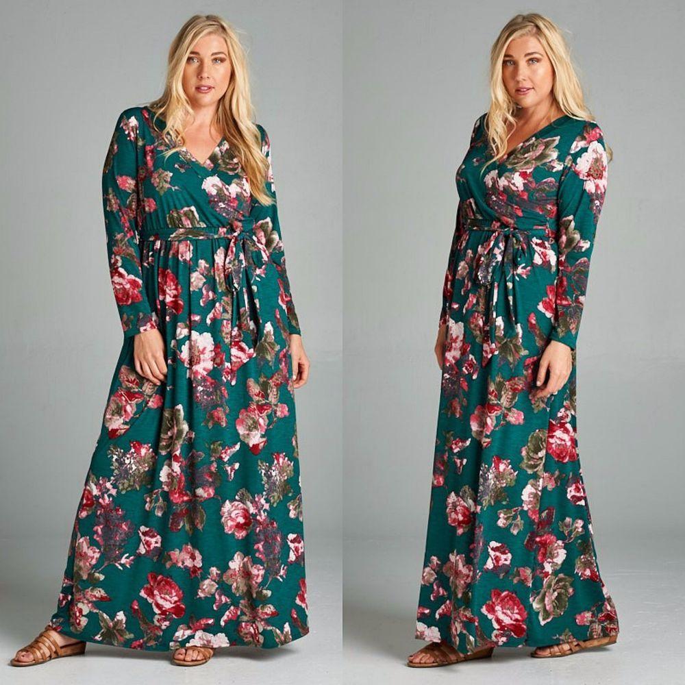 0da7311e805 Emerald Boho CURVY GIRL Long Sleeve Maxi Wrap Dress TURQUOISE FLORAL Knit  1X-3X  Emerald  Maxi