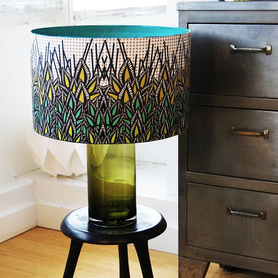 Green leaves designer drum lampshade drums leaves and drum lamp green leaves designer drum lampshade aloadofball Gallery