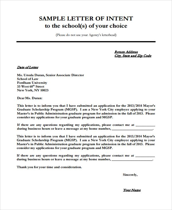sample letter intent for university documents pdf word college - business inquiry letter sample