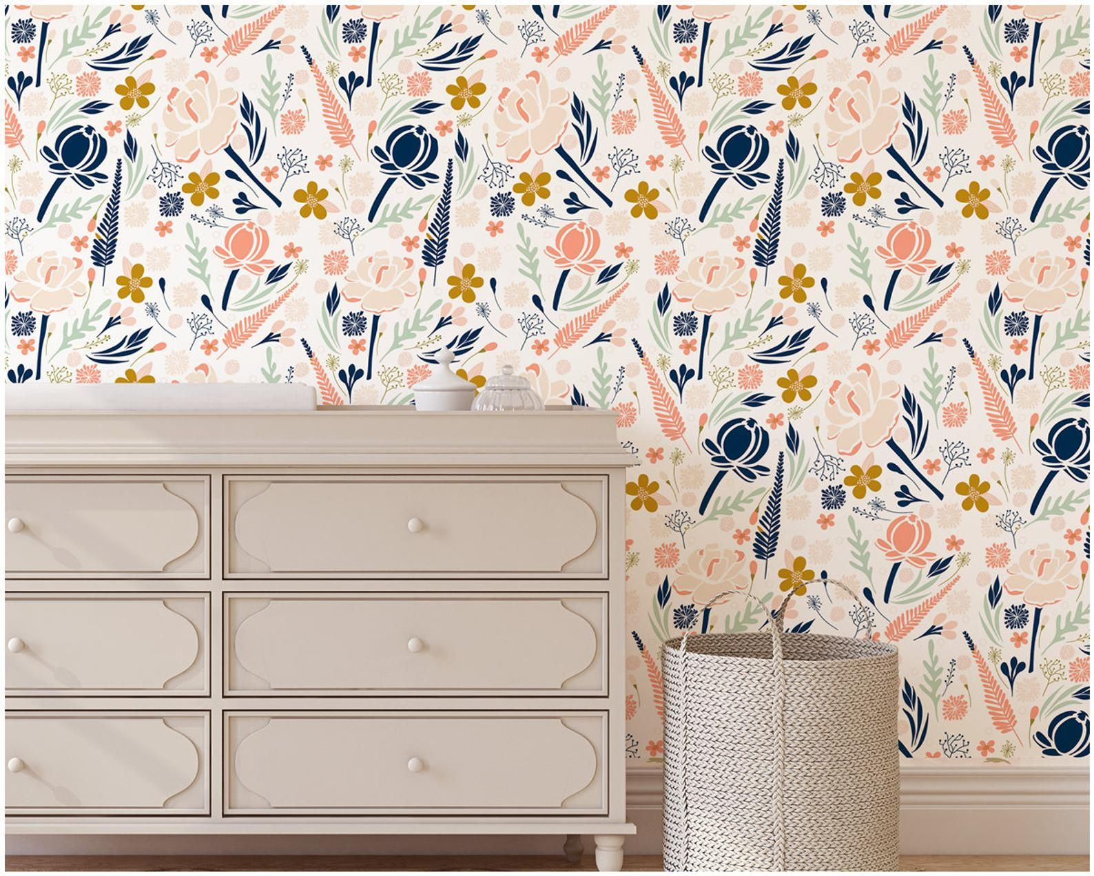 Floral Wallpaper Coral and Navy Gold Removable Wallpaper