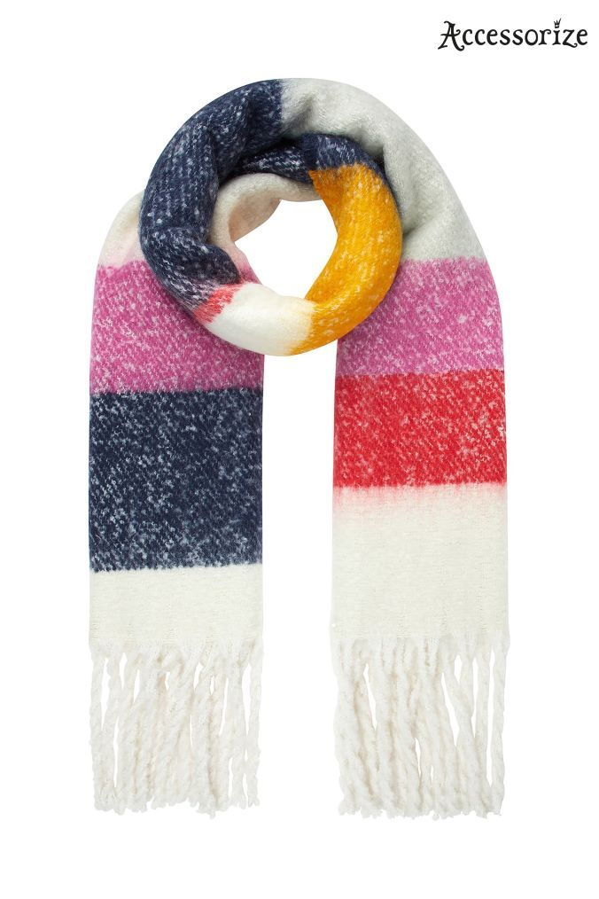 Womens Accessorize Fulham Fluffy Stripe Blanket Scarf - Blue ... 7c37101818