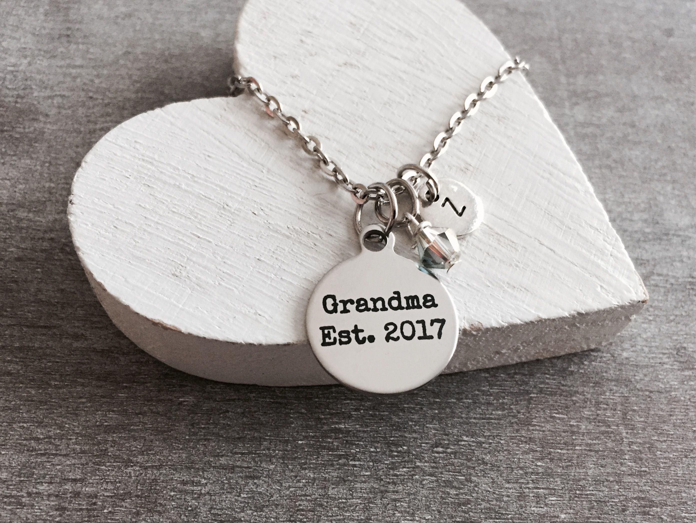 Grandma est 2017 silver necklace grandma necklace grandma gift grandma est 2017 silver necklace grandma necklace grandma gift grandma pendant aloadofball Image collections