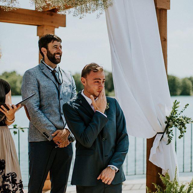 Emotional Groom Response To Bride Walking Down The Aisle