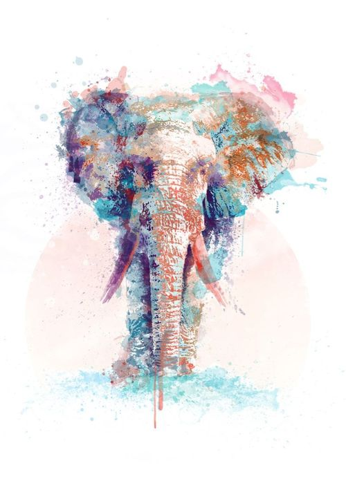 Group of: This is an amazing watercolor/color pencil elephant ...