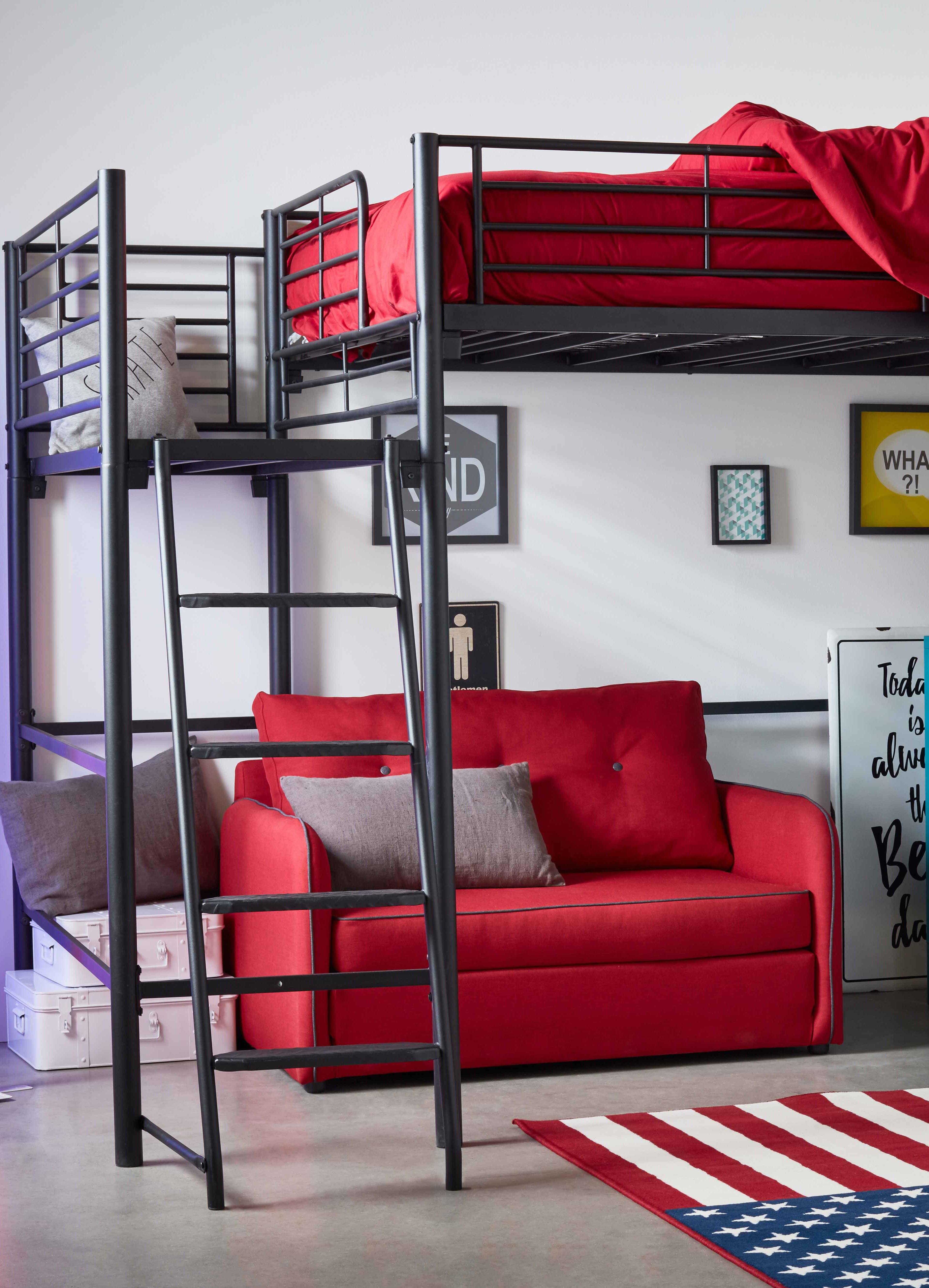 alexy lit mezzanine 2 places noir avec plateforme decoration deco maison alinea lit mezzanine 2 places mezzanine 2 places lit mezzanine