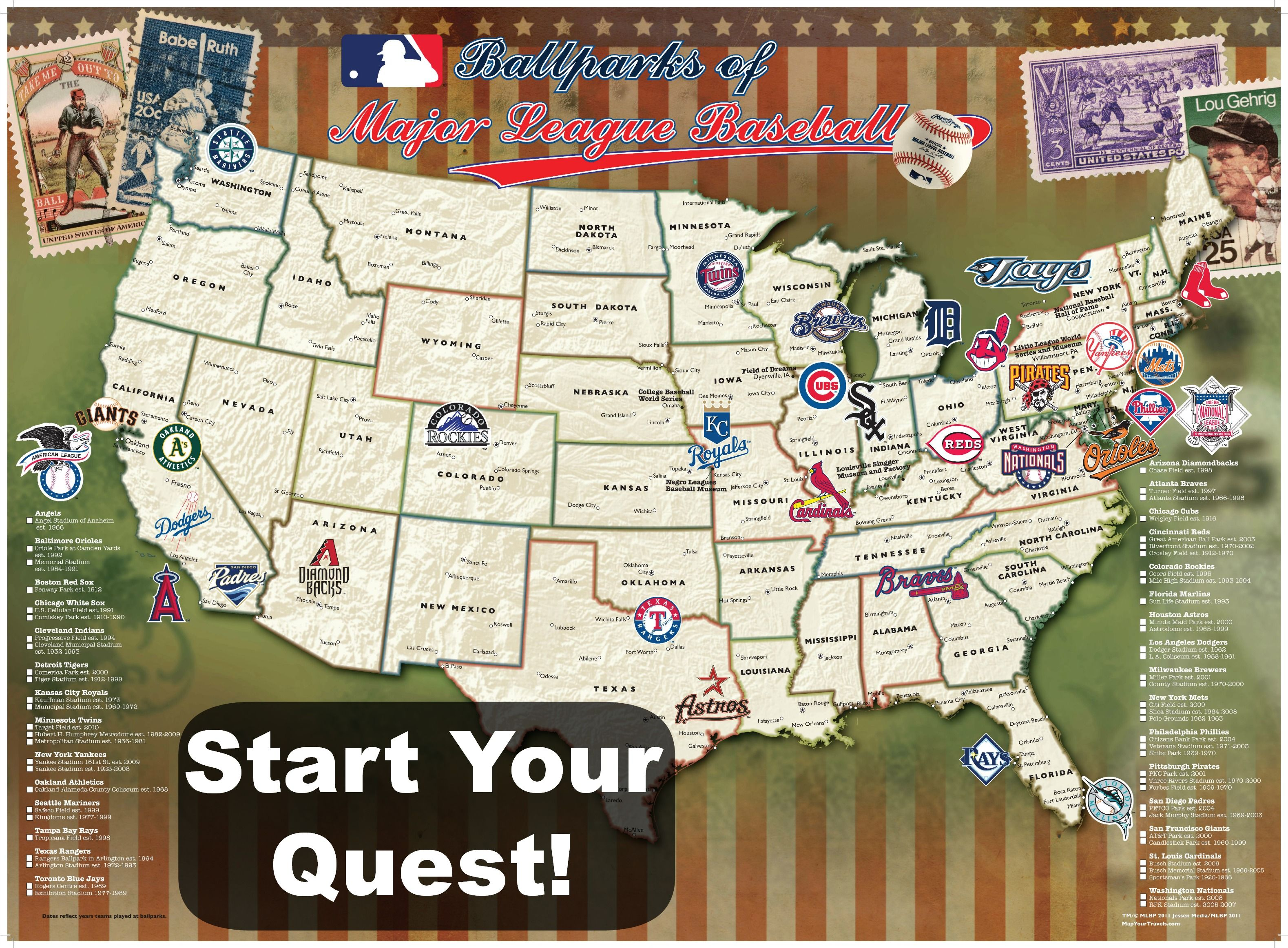 Ballpark Travel Quest Map Baseball Posters Mlb Stadiums Traveling By Yourself