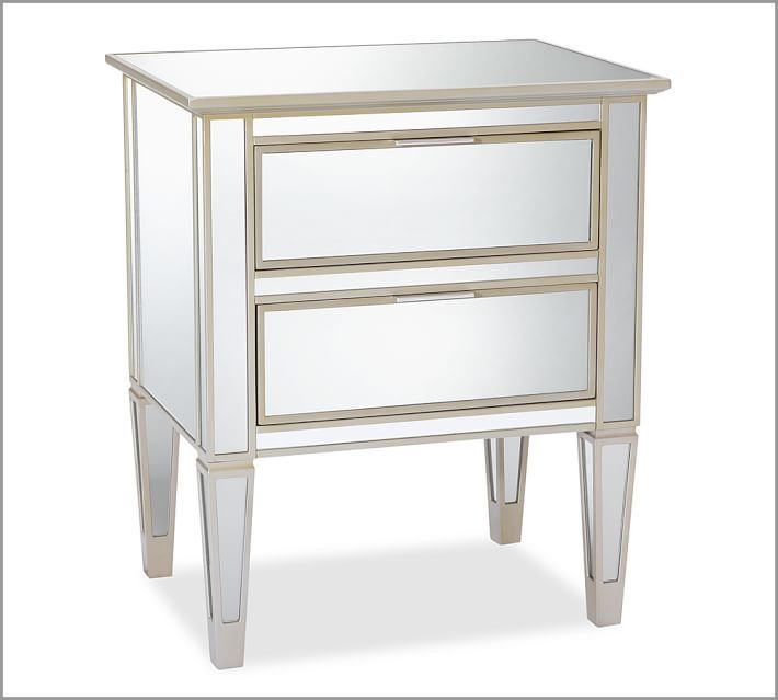 Pottery Barn Mirrored Furniture: Park Mirrored 2-Drawer Bedside Table