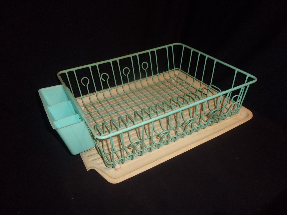 Vintage Rubber Queen Teal Aqua Dish Drainer And Rubbermaid