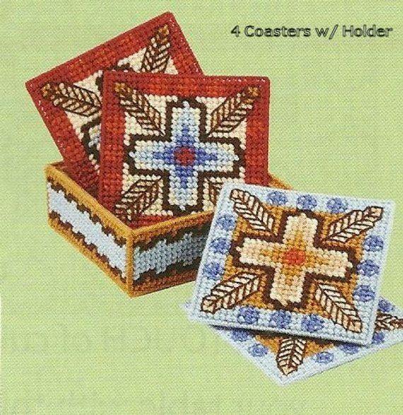 Canvas Santa Fe >> Santa Fe Coasters 4 Coasters With Holder Needlepoint On