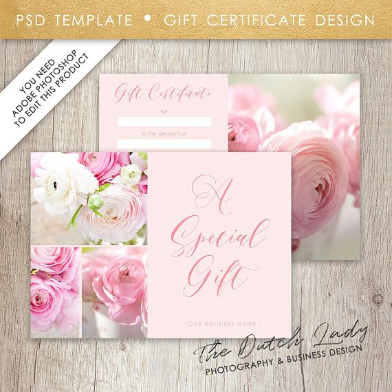 Gift Certificate Template With Photos Design 2 INSTANT - photography gift certificate template