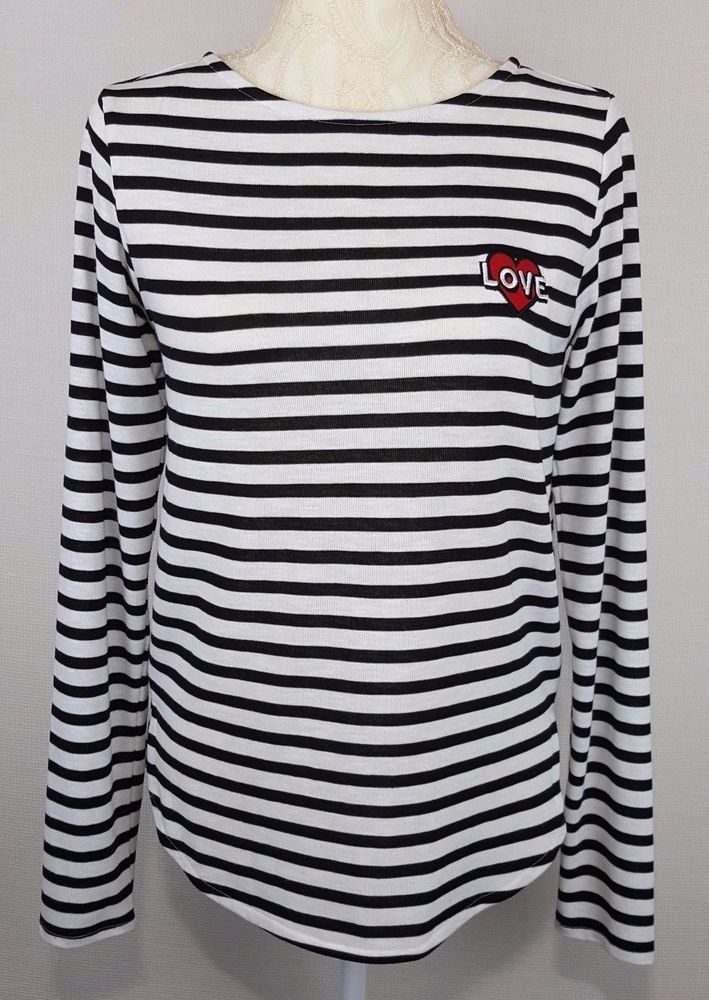 603f1376c382 H&M Womens Black White Striped Long Sleeve Shirt Top Red Heart Love Size  Small #HM #KnitTop #Any