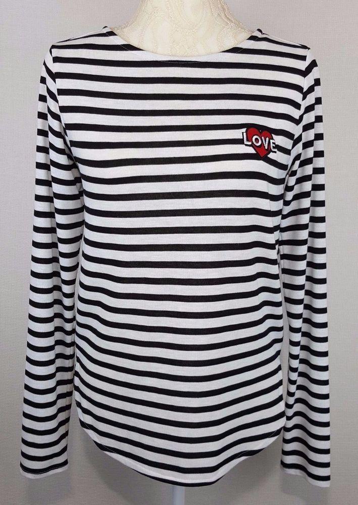 599f51b22f1a H M Womens Black White Striped Long Sleeve Shirt Top Red Heart Love ...