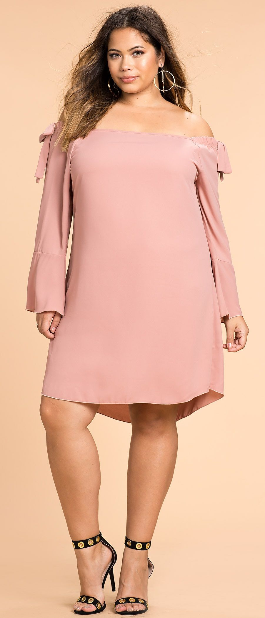 Plus Size Tie Cut Out Off Shoulder Shift Dress | ropa | Pinterest ...