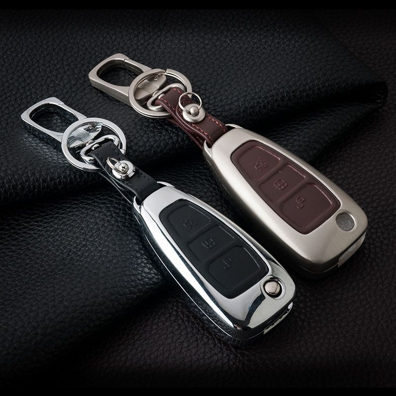 Zinc Alloy Leather Car Remote Key Cover Case For Ford Focus 2 3 4 St Mondeo Mk3 Mk4 Fiesta Fusion Kuga 2013 2014 2015 2017 2018 Review Leather Key Case Key Covers Leather Fob