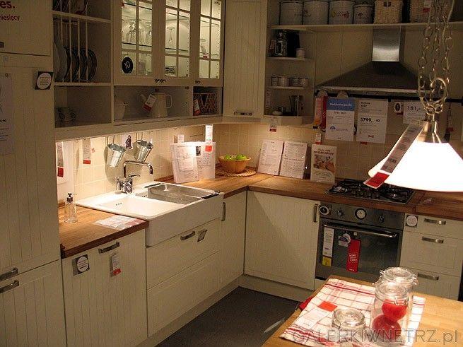 Szafki kuchenne w kolorze białym ecru Kompletna zabudowa   -> Kuchnia Ecru Jaki Blat