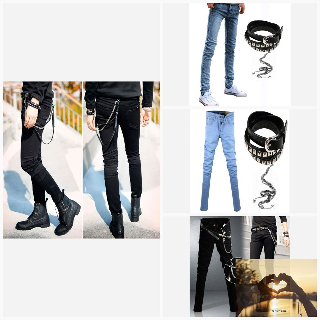89749684264 Men s Slim Fit Jeans Punk Cool Super Skinny Pants With Chain For Male   onlinebargins  trendy  stylish  fashion  under 100  womensfashion   holidaybargins ...