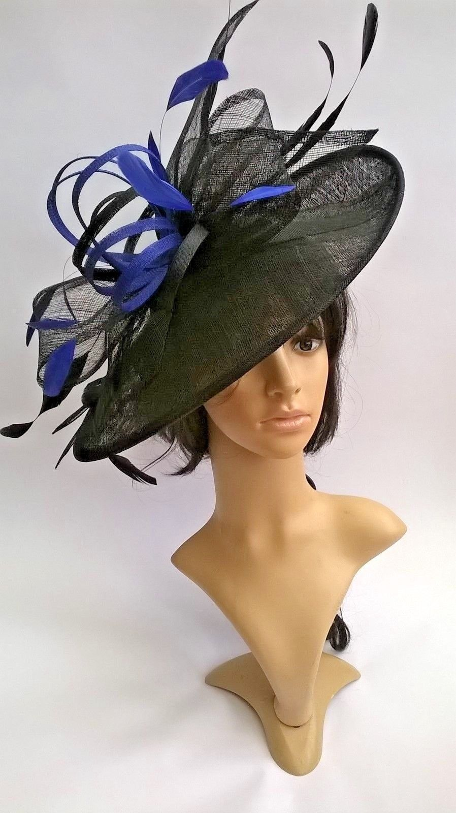 Lyndsey plus..Black   sapphire large Hatinator Sinamay and feathers ... d589e71329c