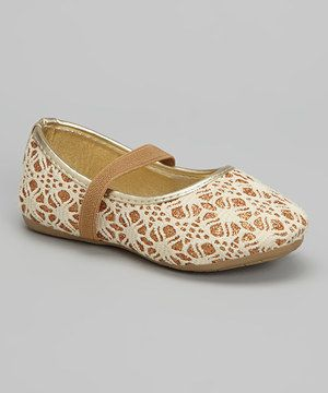 Ositos Shoes Gold Crochet Glitter Mary Jane by Ositos Shoes #zulily #zulilyfinds