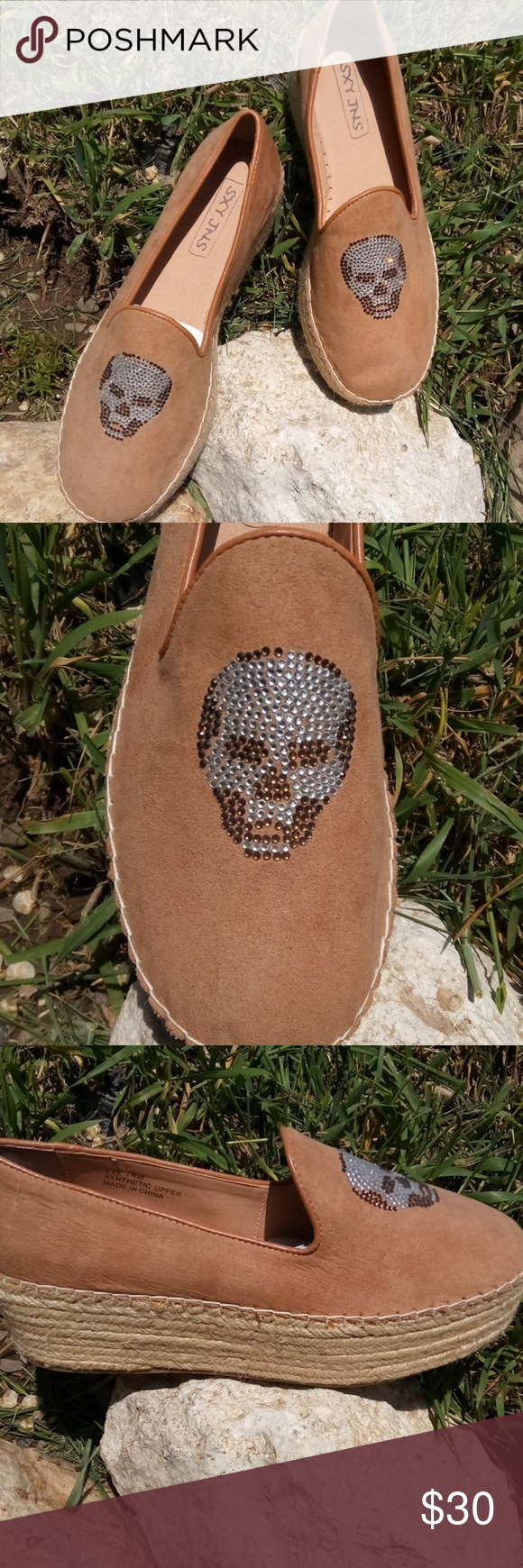SXY JNS Shoes Really cute tan skeleton shoes embellished with clear and brown faux crystal! There is a small spot on back of heal. (Pictured, not sure how it got there.) Heel: 1 3/4 Please look at all pictures before purchasing! Reasonable offers accepted! SXY JNS Shoes Wedges #shoewedges