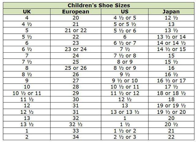 talla de zapatos para un niño de 6 años