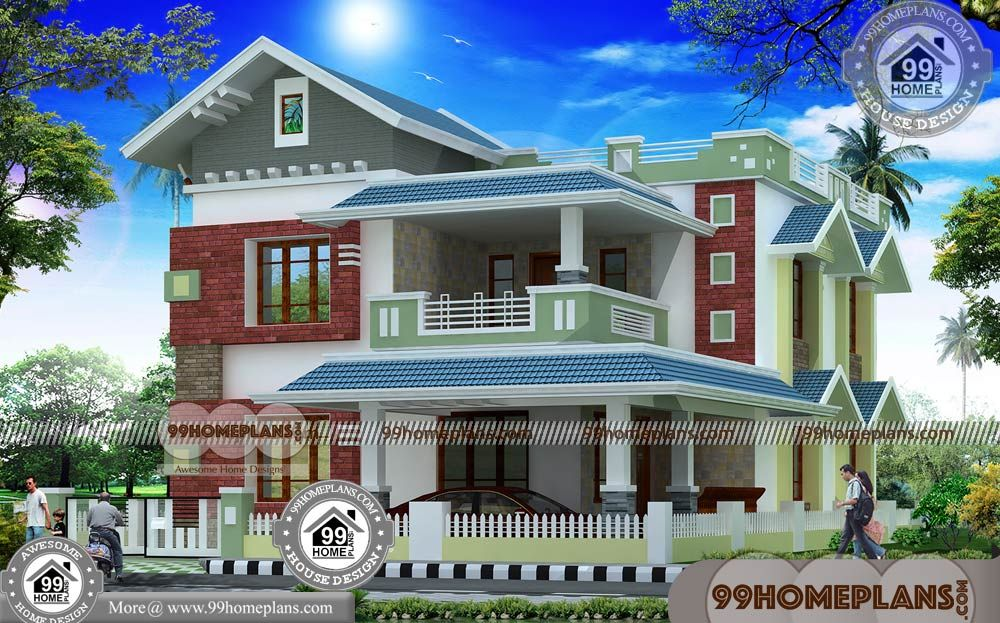 Two Story Home With Indian Normal House Design Having 2
