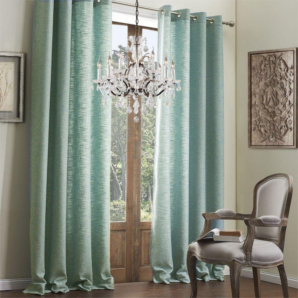 Solid blue classic faux linen ecofriendly curtain curtains decor