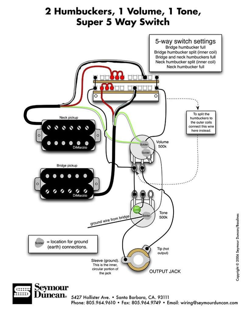 Guitar Wiring Diagram 2 Pickup 1 Volume Tone 1998 Ford Expedition Dual Humbucker W Vol And Youtube With For