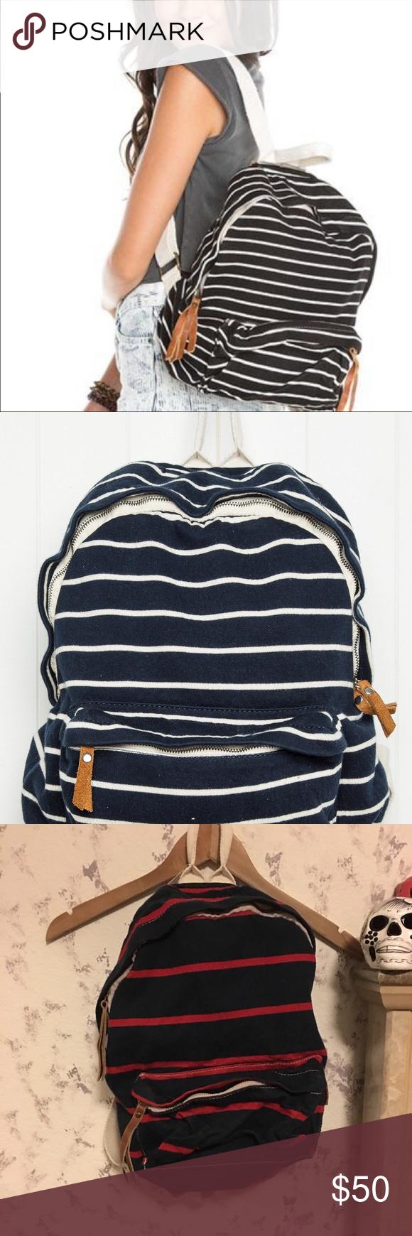 c904213837 John Galt (Brandy Melville) striped mini backpack BNWT!! Mini backpack Navy  blue