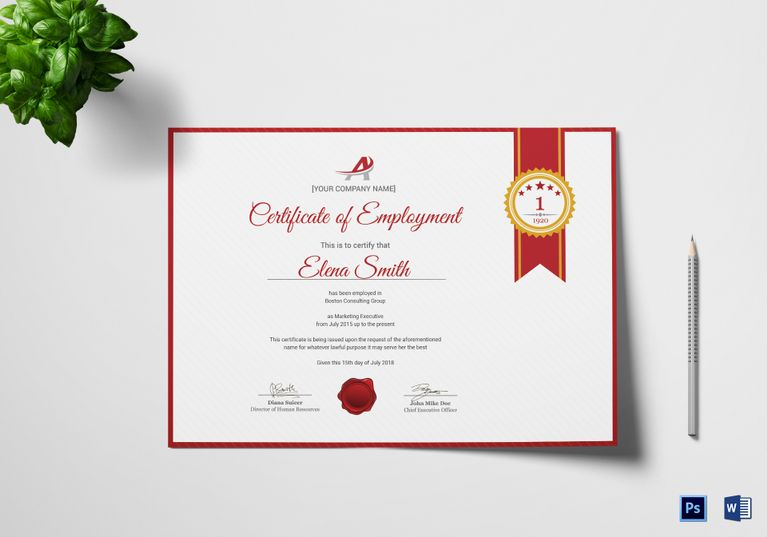 Dynamic Employment Certificate Template Certificate Design