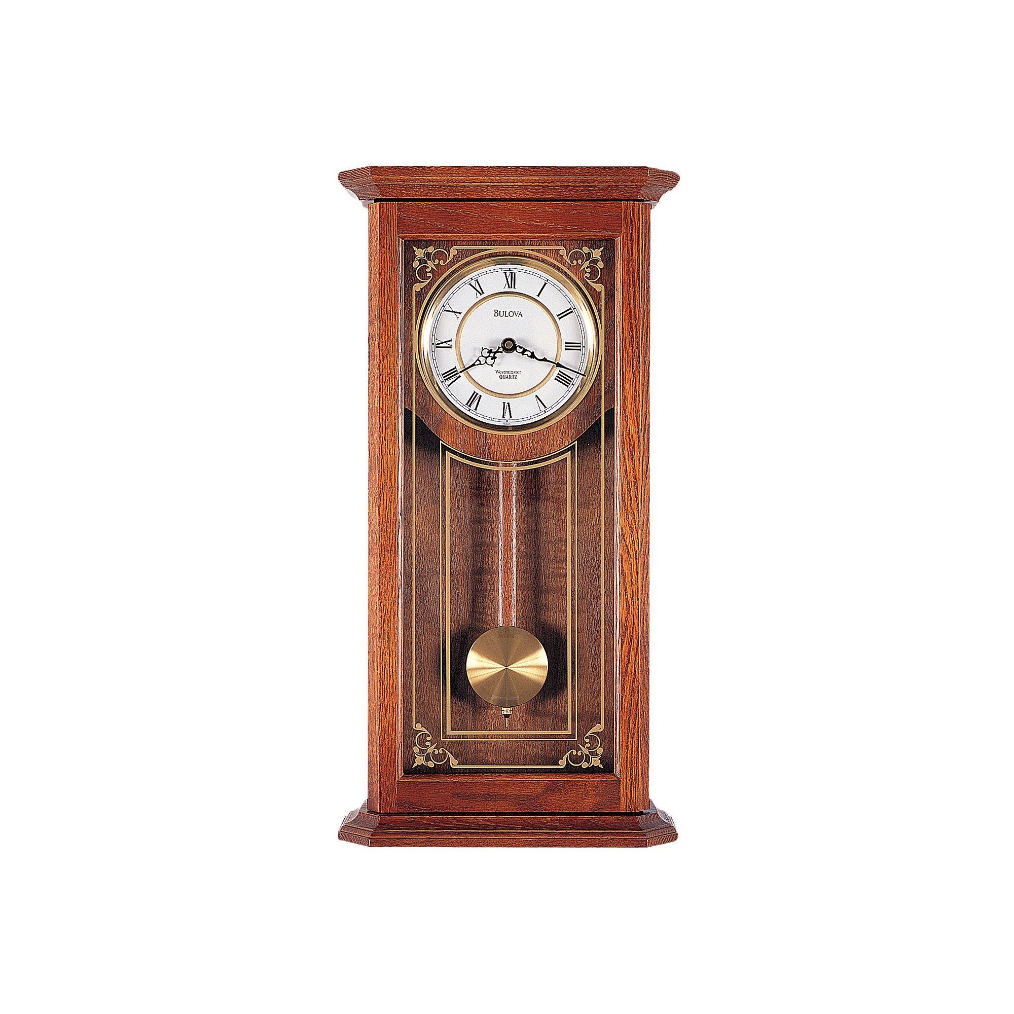 Bulova Cirrus Oak Pendulum Wall Clock C3375 Chiming Wall Clocks Pendulum Clock Pendulum Wall Clock
