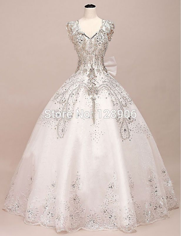 Extravagant Wedding Dresses Crystals Beaded Stones V Neckline Off