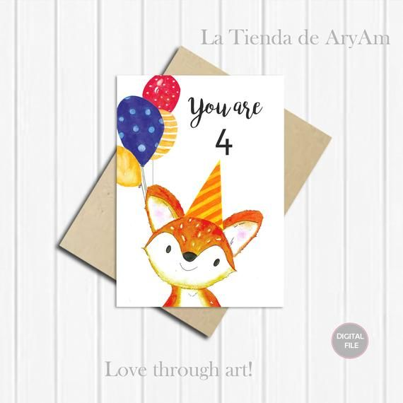 image regarding Printable Children's Birthday Cards titled Individualized Joyful Birthday Card, 4th Birthday Fox, Card